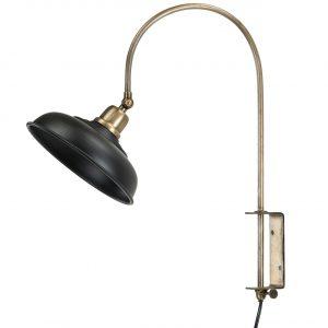 Vägglampa i mässing och svart matt lampskärm i metall