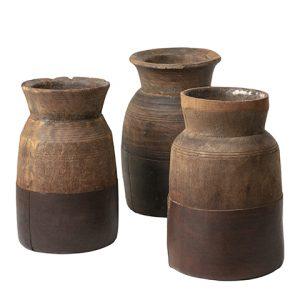 Vintage mjölkkanna urna i trä