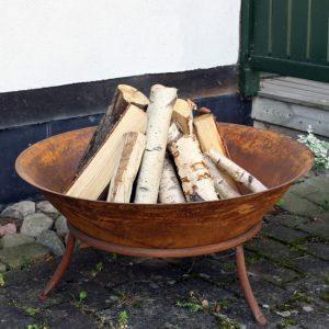 Eldskål eldkorg eldfat i rostig metall 90 cm