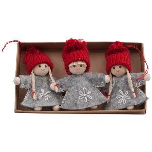 Hängande tomtar i filt tyg julgranspynt