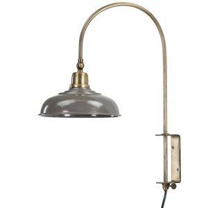 Vägglampa i mässing med grå lampskärm i metall