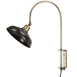 Vägglampa i mässing med antikbrun lampskärm i metall