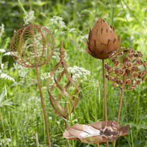 Trädgårdsdekoration stick växtstöd i rostig metall