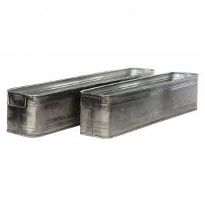 Blomlåda planteringslåda kruka i grå industri metall