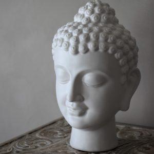 Majas cottage buddha decor huvud i vit keramik