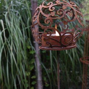 Värmeljushållare rostig metall blomstick trädgårdsdekoration