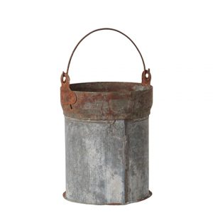 Hink spann kruka i zink och rost