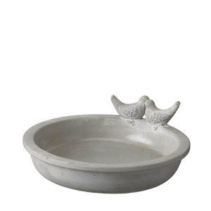 Fågelbad i grå cement
