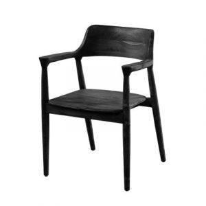 Karmstol matstol köksstol i svart teak trä