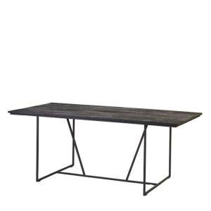 Matbord i svart trä teak med metall industristil