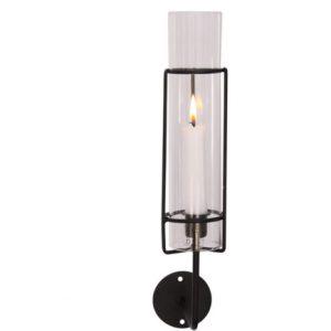 Väggljusstake i svart metall med stormglas
