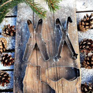 korsade skidor pepparkaksform