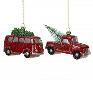 Bilar med gran hänge julgranspynt