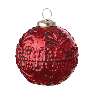 Röd julgranskula i glas