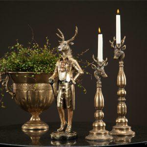Ljusstake hjort i guldbrun metall