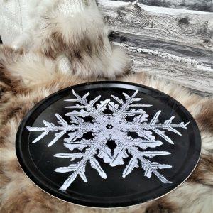 Rund bricka med snöflinga