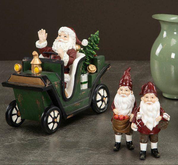 Tomte med grön bil julpynt